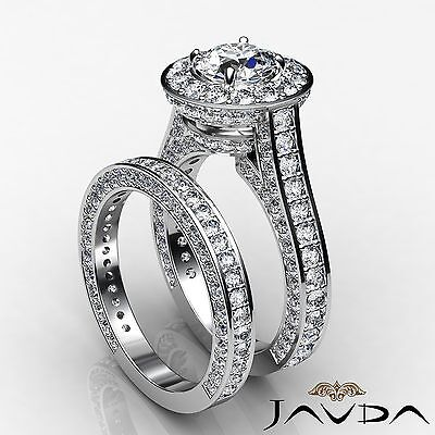 Circa Halo Pave Bridal Set Round Diamond Engagement Ring GIA H Color SI1 4.45Ct