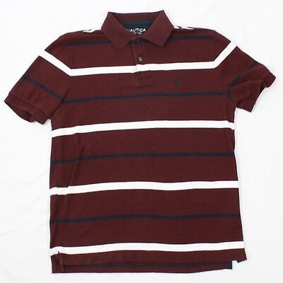 Maroon Striped Performance Polo - NAUTICA Performance Deck Shirt Classic Fit Polo Size Small S Mens Maroon Rugby T