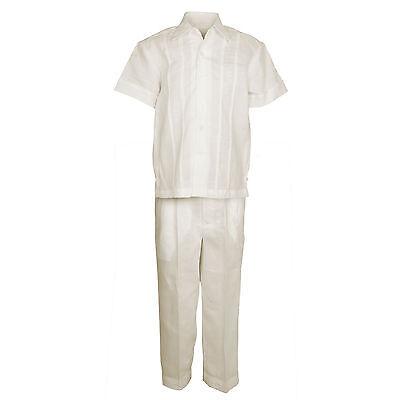 (Boys Ivory 100% Linen Set Guayabera Pleat Embroidered Shirt & Pant Size 4 to 18)