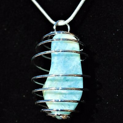 "CHARGED Aquamarine Crystal Perfect Pendant™ 20"" Silver Chain REIKI Healing"