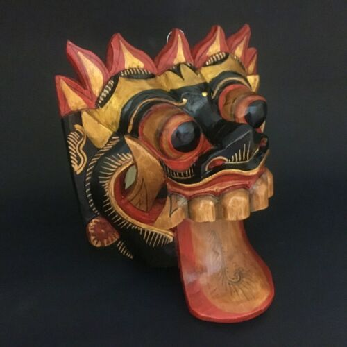 Indonesia Bali Black Rangda Wooden Mask Hand Carved Mythology Wall Hanging