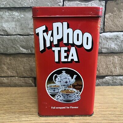 Vintage Retro Typhoo Tin Tea Caddy Storage Kitchenalia Advertising 16x9x9cms