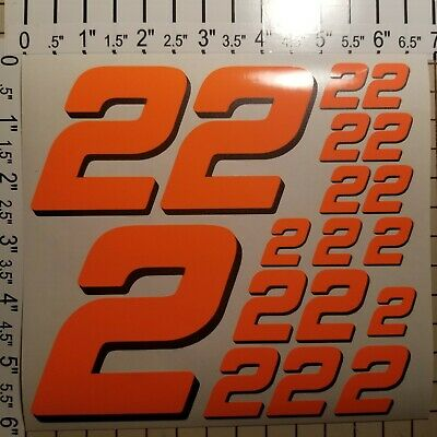 Orange Fluorescent #8/'s  Racing Numbers Vinyl Decal Sheet 1//10-1//12 Traxxas-losi