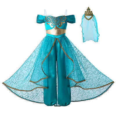 Aladdin Girl Princess Jasmine Fancy Dress Costume Party Outfits Cosplay Sequined