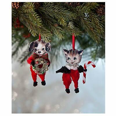 Set/2 Bethany Lowe Cat Dog Christmas Tree Retro Vntg Decor Ornaments Chenille