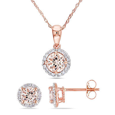 Amour Morganite And 1/6ct Tdw Diamond Halo Necklace And E...
