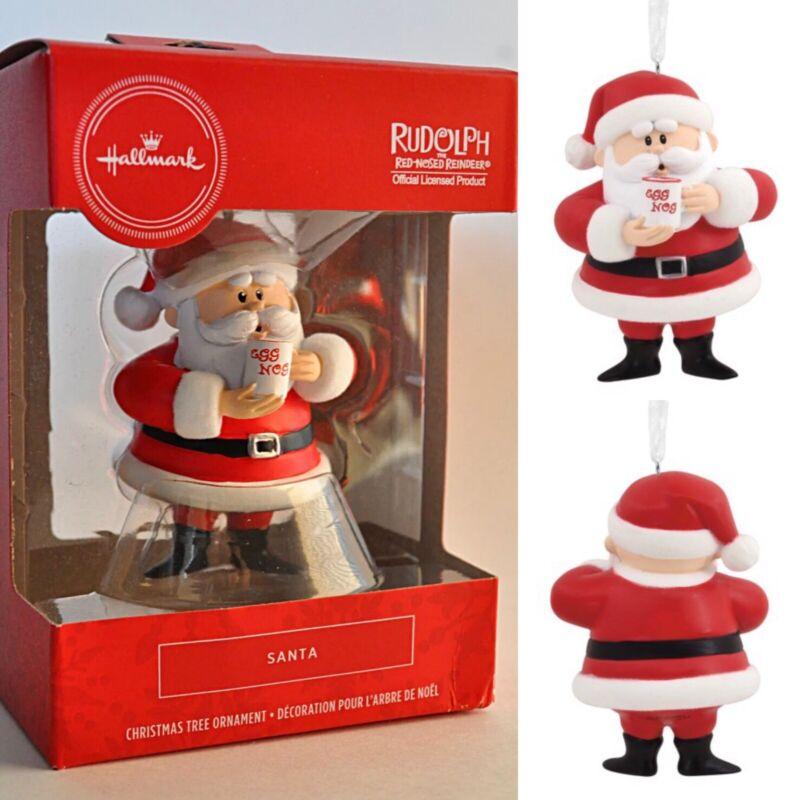🎄Hallmark Rudolph the Red Nosed Reindeer🔴 Santa w Eggnog Christmas Ornament 💯