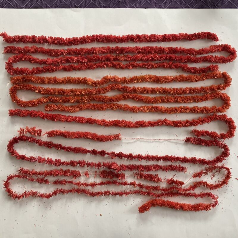 Vintage 280 Inches Red Chenille Straw Grass Garlands Christmas Plus Wreath