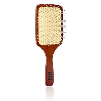 Anti Static Wooden Paddle Brush (Wooden Paddle Hair Brush Metal Bristle Detangler Anti Static Detangling Wet Dry  )