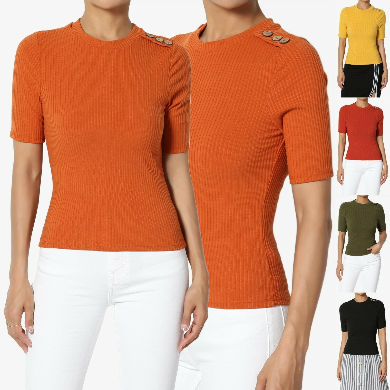 TheMogan Essential Crew Or V-Neck Short Sleeve Stretch Ribbed Fitted Top T-Shirt