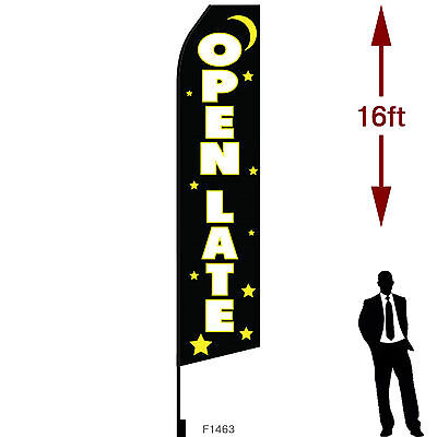 16ft Outdoor Advertising Flag With Pole Set Ground Stake. Open 24 Late