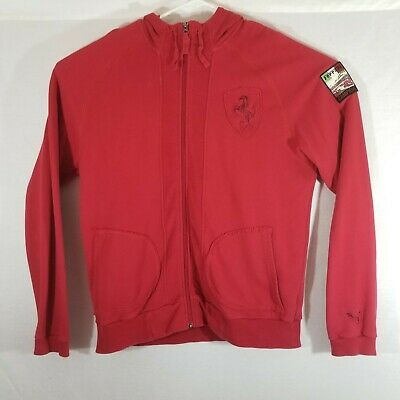 FERRARI CAMPIONE Men's Puma Full Zip Hooded Sweatshirt Jacket Patches XL