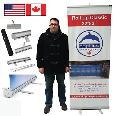 Durable 32 Retractable Banner Stand Roll Up Trade Show Display Custom Print
