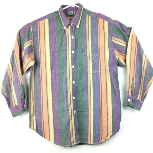 Vtg 90s Womens Large (46 in Chest) Multi-Color Striped Pocket Button Down, Nepal