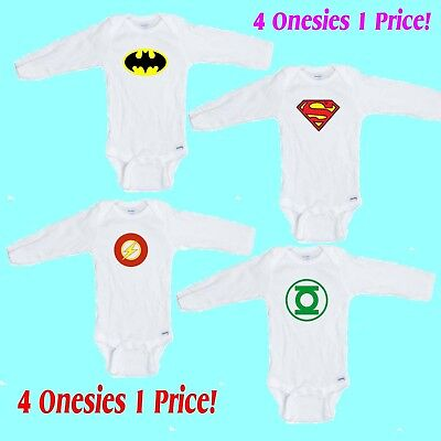 Superhero # 1    4 Pack LONG SLEEVE Romper / Onesie Great  Gift  FREE SHIPPING - Onesie Superhero