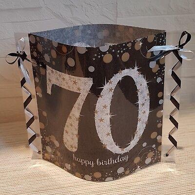 ervietten-Happy Birthday-70.GEBURTSTAG-Band schwarz/silber (Serviette Bands)