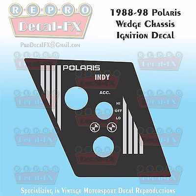 1988-98 Polaris Indy Ignition/Light/Choke Panel Decal Wedge Repro Vinyl 1Piece