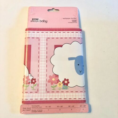 Pink Sheep Wallpaper Border Bunny Flowers 15 Ft.