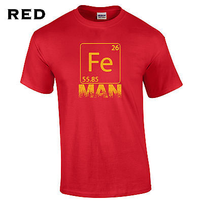 288 Fe Man Mens T-Shirt Iron funny chemistry cool college costume super hero # - Funny Superheroes Costumes