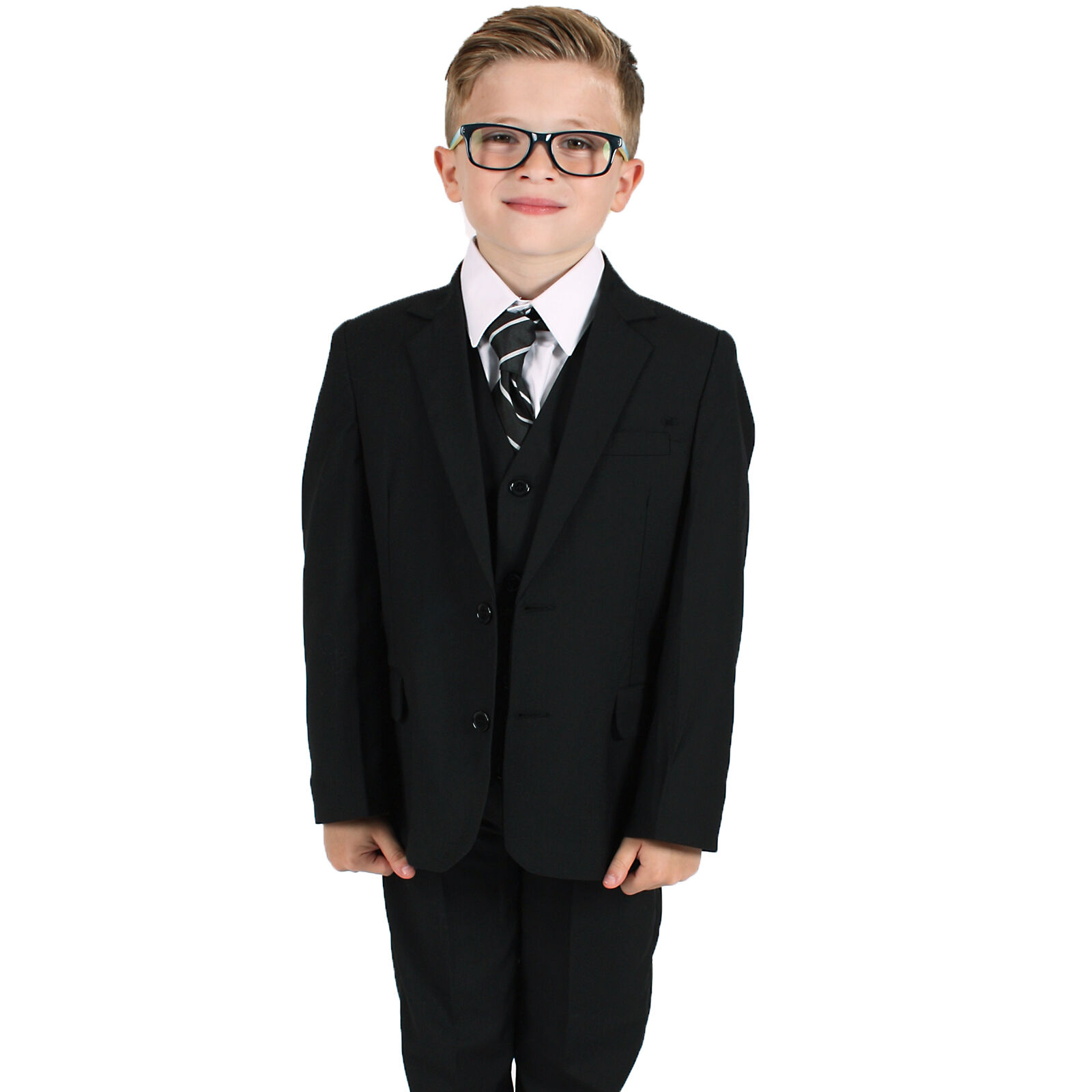 752bdd2f9 Details about Boys Suits Boys Black Suit 5 Piece Slim Fit Wedding Page Boy  Formal Party Outfit