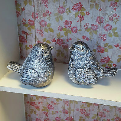 Pair of Small Silver Resin Bird Ornament Vintage Shabby Chic Style Gift Home