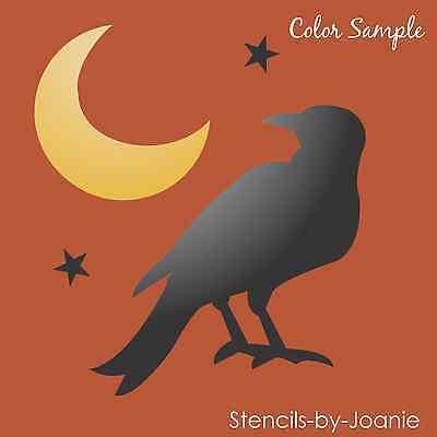 Joanie Stencil Prim Crow Raven Bird Harvest Crescent Moon Stars Fall Craft Signs