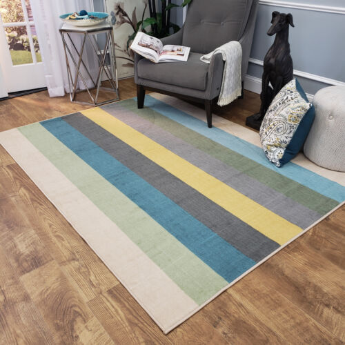 washable area rug runner mat colored stripes