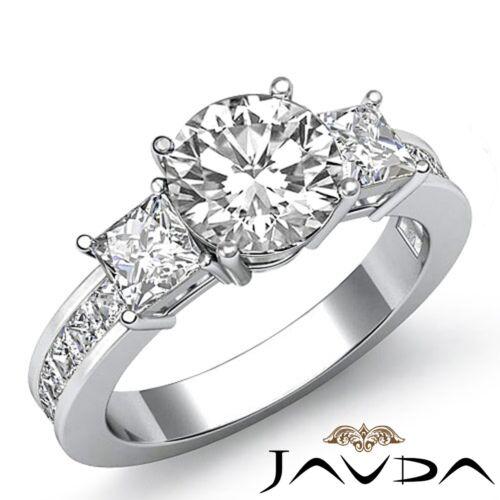 3 Stone Round Diamond Engagement Channel Set Ring GIA F VS2 14k White Gold 2.1ct