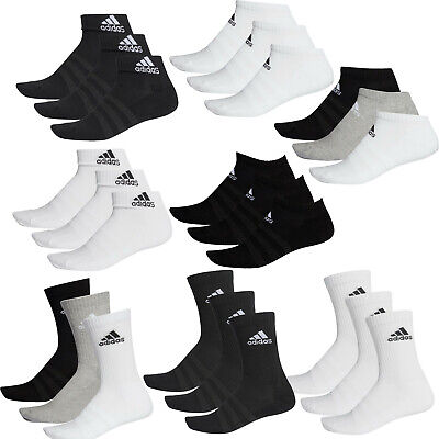 Adidas  ESSENTIALS 3S Socks Cushioned Unisex Cotton Ankle Crew Quarter Sports