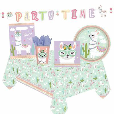 Llama Pastel Tableware Decorations Baby Shower Birthday Party Banner Picnic Sets