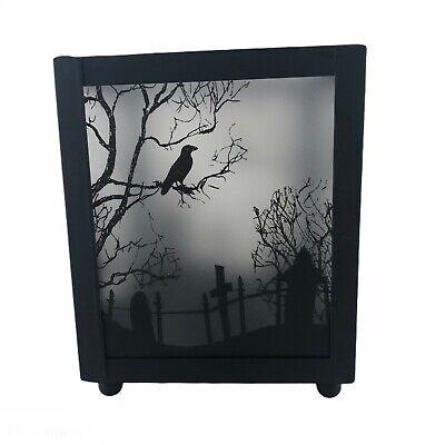 Halloween Cemetery Tea Light Candle Holder Raven Crow Spooky Home Decor Lantern
