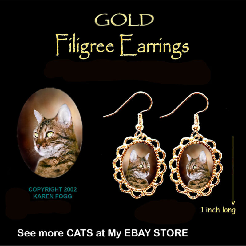 BENGAL STRIPED SHORTHAIR  CAT - GOLD FILIGREE EARRINGS Jewelry