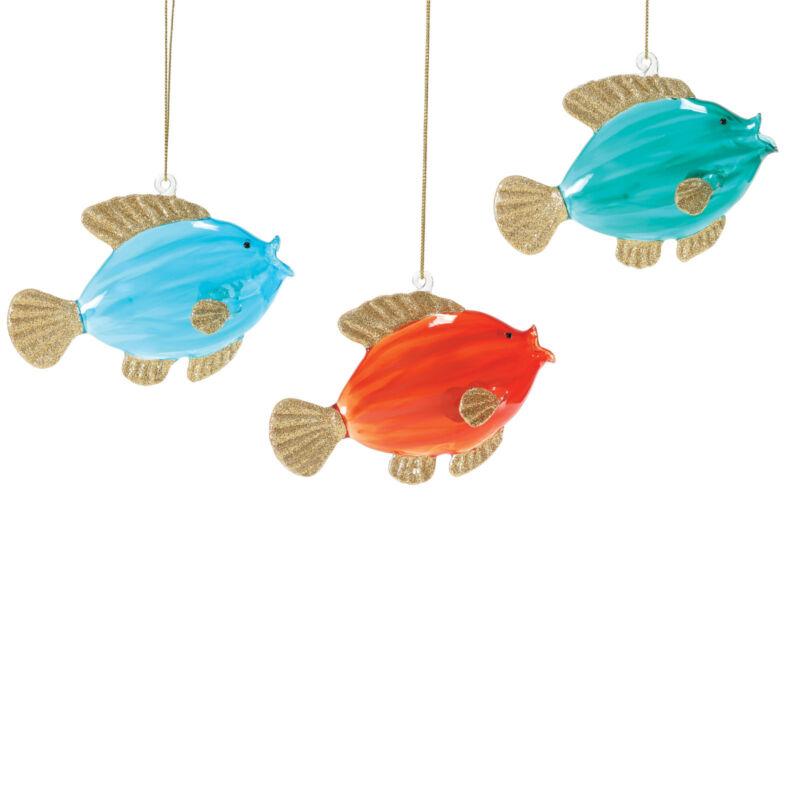 COLORFUL COAST FISH Set of 3 Glass Ornament  Dept 56 Christmas NEW