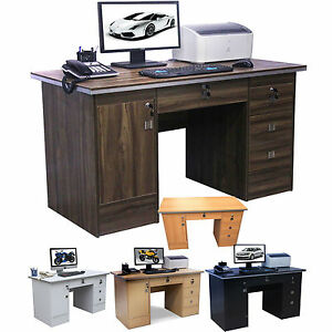 Computer Desk 4 Home Office Furniture Pc Table In Beech Black Walnut White Ebay