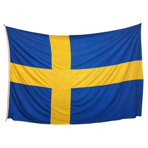 XL Vintage Sewn Cotton Swedish Flag Cloth Old Nautical Nordic Scandinavia Sweden