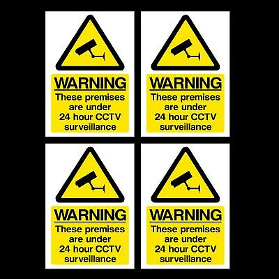 4x CCTV Sign - 24 Hour Surveillance A6 Self Adhesive Stickers 100x150mm