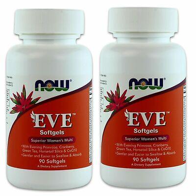 2 x NOW FOODS EVE Women's MultiVitamin/Mineral 90 SGels, Superior Women's Multi Evening Primrose Minerals