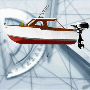 "... 049 Gas Outboard 13"" & 26"" Model Boat Plan Cabin Cruiser Penny Plans"