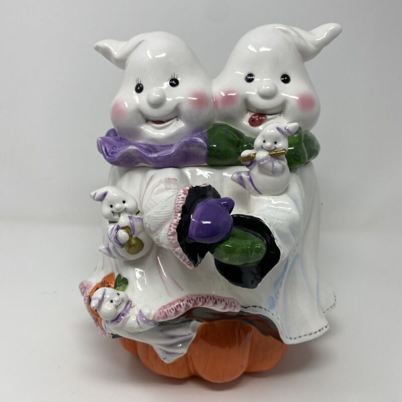 """Halloween Two Ghosts with Baby Ghosts Dancing Cookie Jar 10.5"""" Tall"""