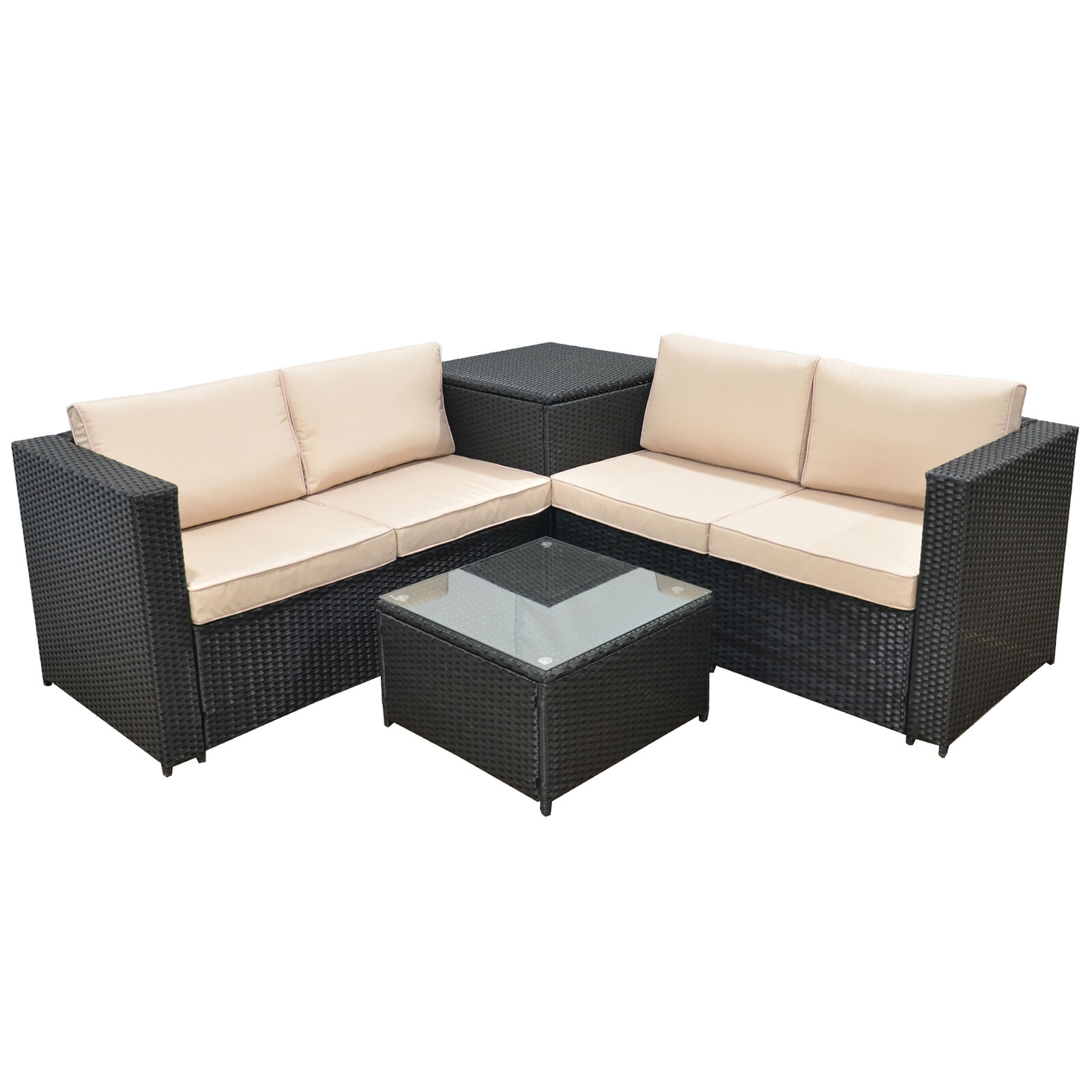 Jalano Poly Rattan Lounge Set SM1 Gartenmöbel Gartengarnitur Möbel anthrazit