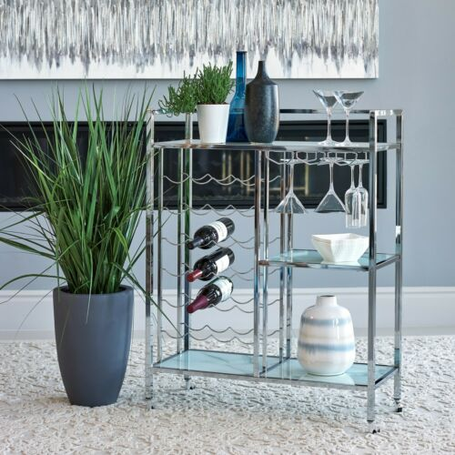 Modern Contemporary Pub Serving Bar Cart Marble Printed Glass & Chrome Finish