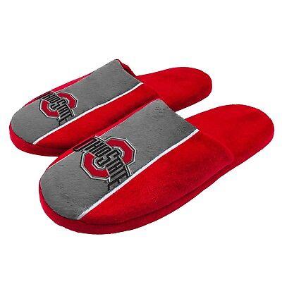 Pair of Ohio State Buckeyes Big Logo Stripe Slide Slippers House shoes NEW STP18