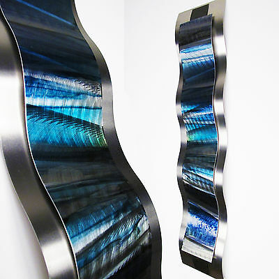 Modern Abstract Metal Wall Sculpture Art Blue Tropical Painting Home Decor New