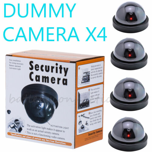 4 Fake Dummy Dome Surveillance Security Camera with LED Sensor Light