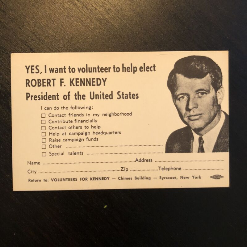 Robert F. Kennedy 1968 Presidential Campaign Volunteer Application Card