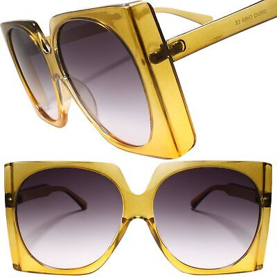 Oversized Exaggerated Square Round Lens Designer Chic Womens Yellow (Rounded Square Sunglasses)