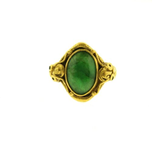 Antique Solid 24K Yellow Gold Chinese Jadeite Ring with Dragons 9.92 g. size 5