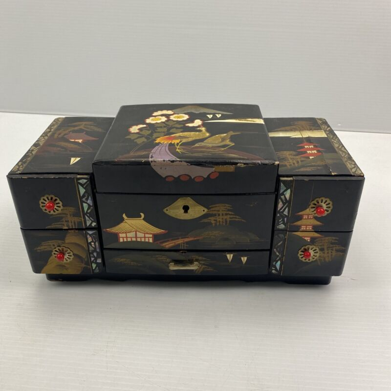 READ VTG Japanese Jewelry Music Box Black Lacquer Multicolored Hand Painted