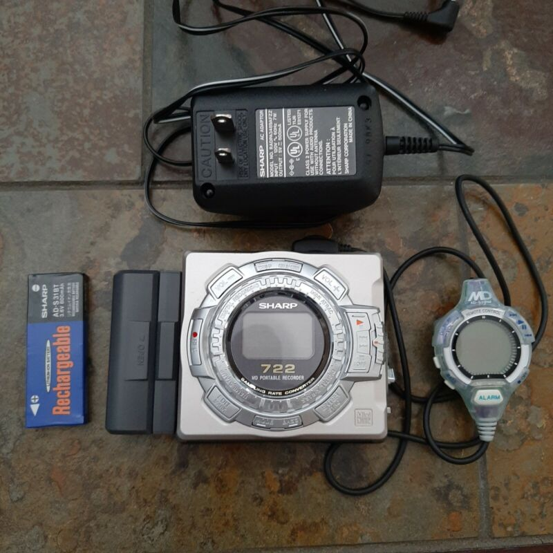 Sharp MD-MS722 Mini Disc Recorder Player Minidisc MD Rare Japan - with manual