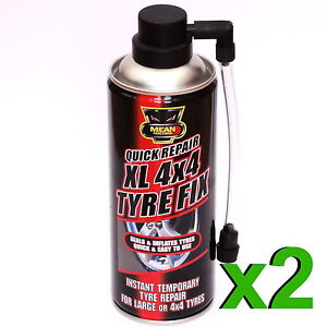 2 x XL 4x4 Instant Quick Puncture Repair Car Tyre Fix Sealant Inflates XL 450ml